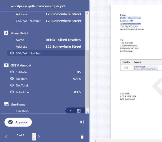 data extracted from invoice and review page is visible