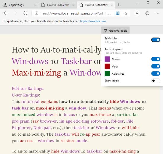 grammar tools enabled in microsoft edge chromium