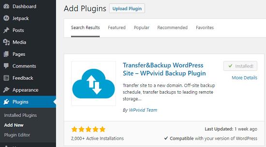 install WPVivid Plugin
