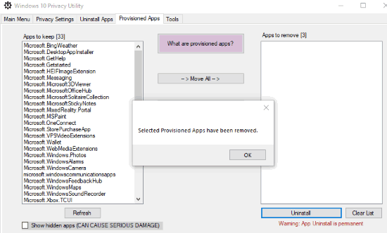 selected provisioned apps removed permanently for new users