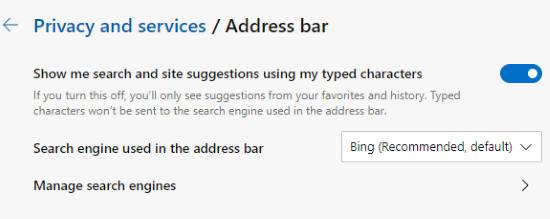 set bing as default search engine