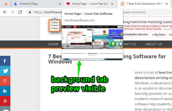 tab preview feature of google chrome