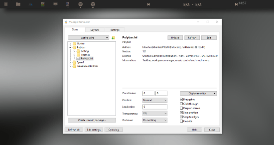 Customizable Windows 10 Taskbar Replacement with Music Control