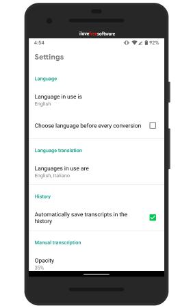 transcriber settings