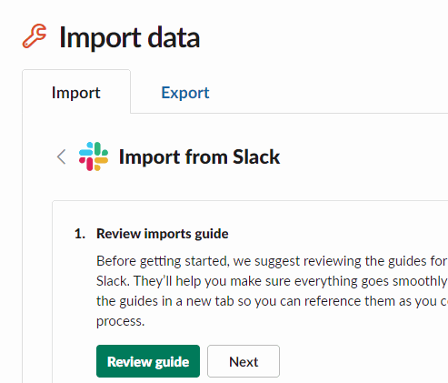 upload the zip archive using slack importing tool