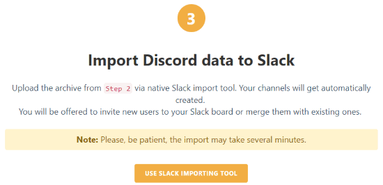 use slack importing tool
