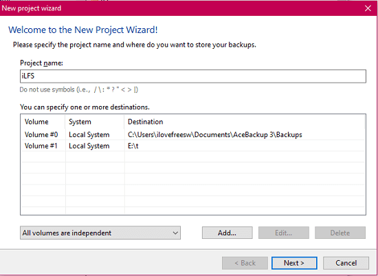 AceBackup create a new project