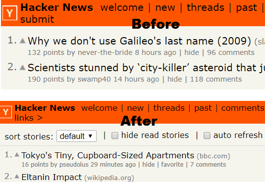After before adding hacke news redesigned extension