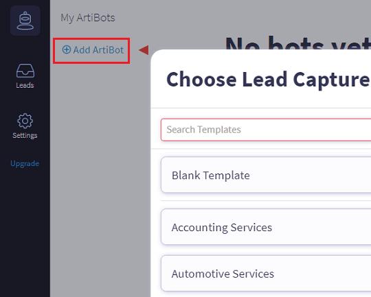 ArtiBot UI and choose templates
