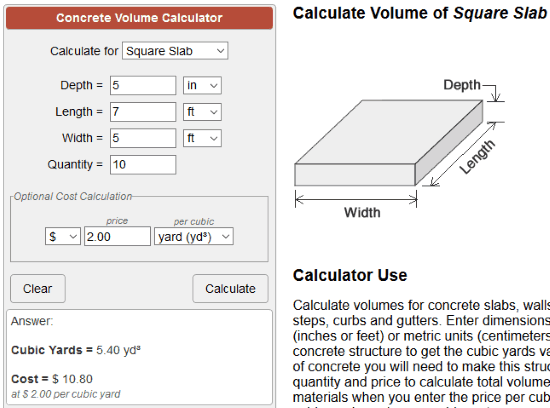 CalculatorSoup Concrete Calculator