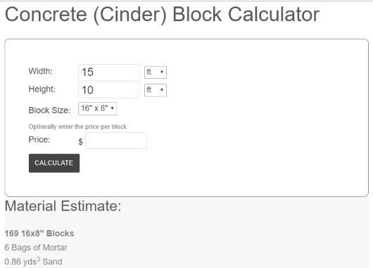 Concrete (Cinder) Block Calculator