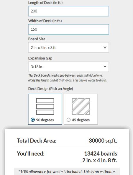 Deck Material Calculator