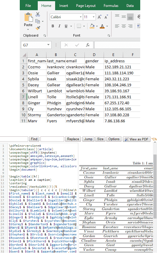 Excel to LaTex in Windows Free