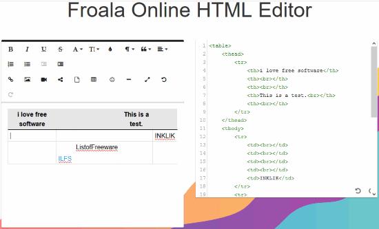 Froala Online HTML Editor