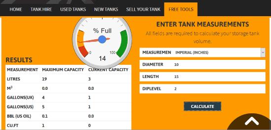 Horizontal Storage Tank Volume Calculator