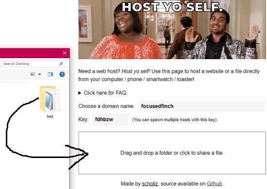 Hostyoself web UI