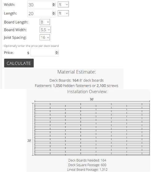 Inch Calculator deck board calculation