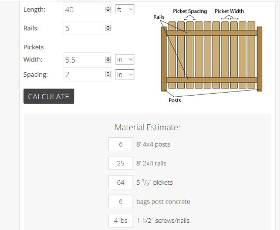 Inchcalculator website with fence calculator