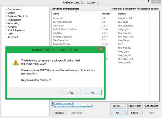 Install VGM plugin in Foobar2000