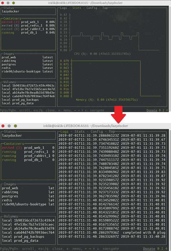 Lazydocker logs and stats