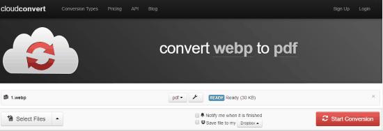 Online WebP to PDF converter