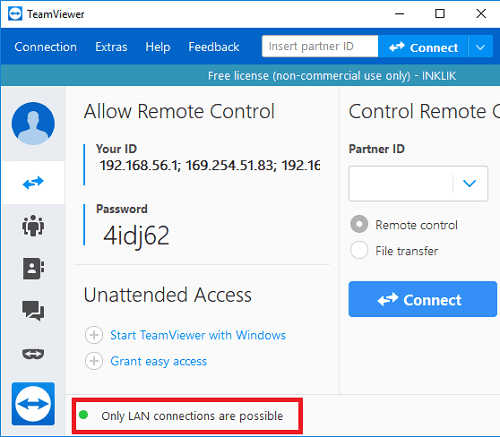 TeamViewer LAN Connections configured