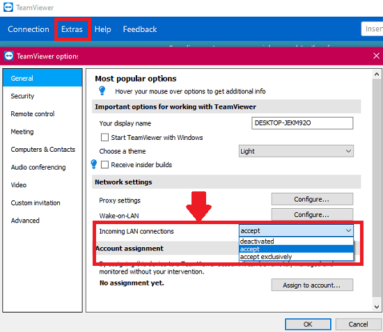 TeamViewer configure for accepting lan connections
