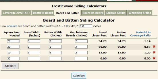 Trestlewood board and batten spacing calculator