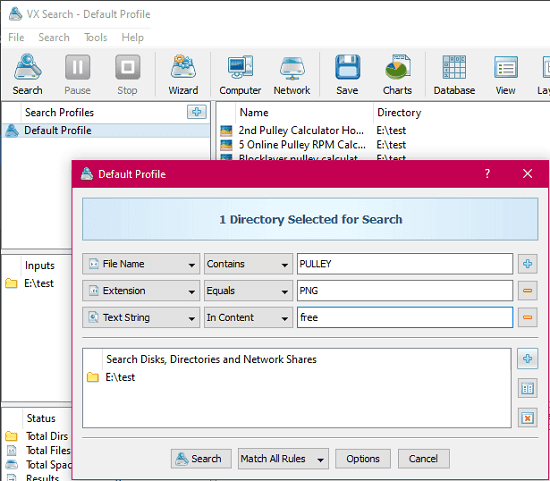 VX Search free file serach tool for Windows