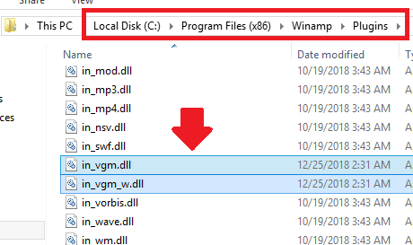 Winamp VGM plugin installation