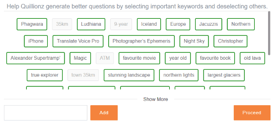 add keywords to generate questions
