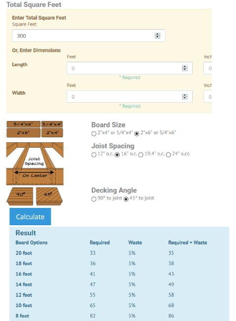 decking board estimator and calculator