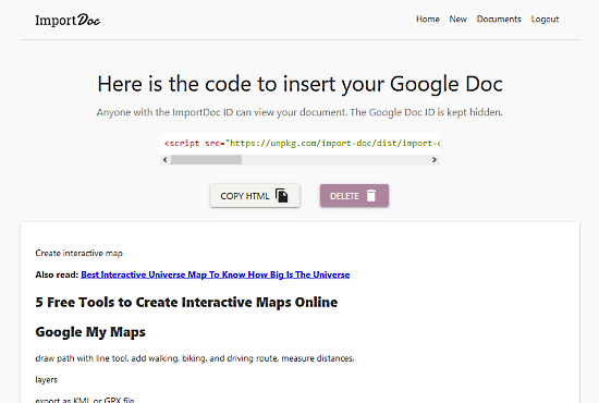 How to Embed Google Docs Content to Web pages?