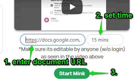 enter document url set time and use start button