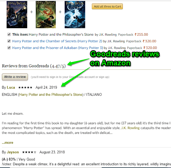 goodreads reviews on amazon visible on description page of book