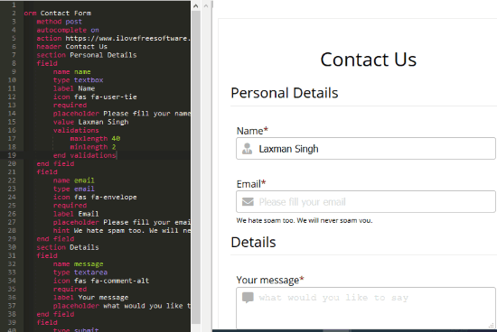 Free Online HTML Form Builder with Field Validation, Get