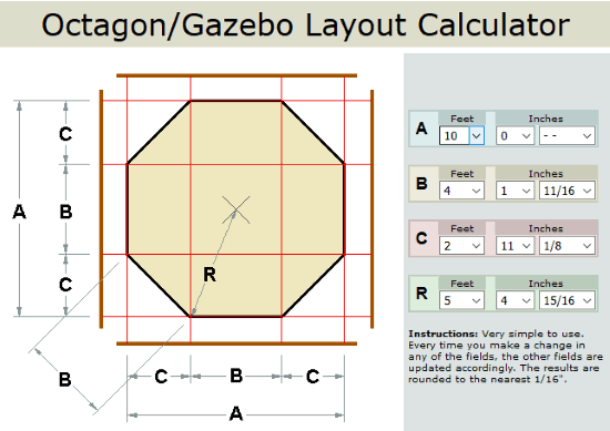 octagon or gazebo layout calculator