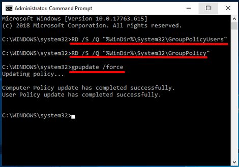 reset group policy settings in windows 10 using command prompt