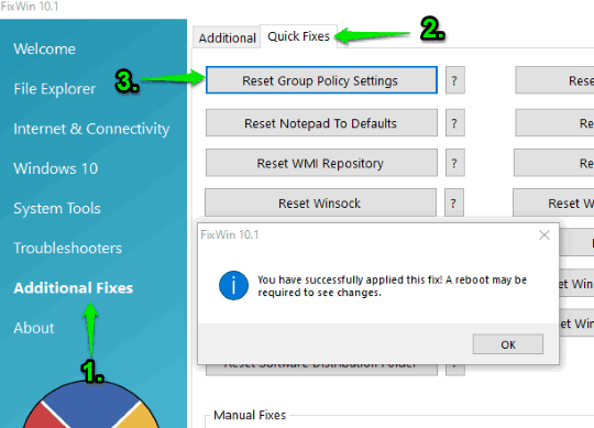 reset group policy settings in windows 10 using fixwin 10