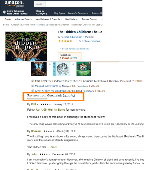 reviews from goodreads visible