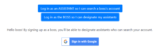 sign in as boss by adding your email id