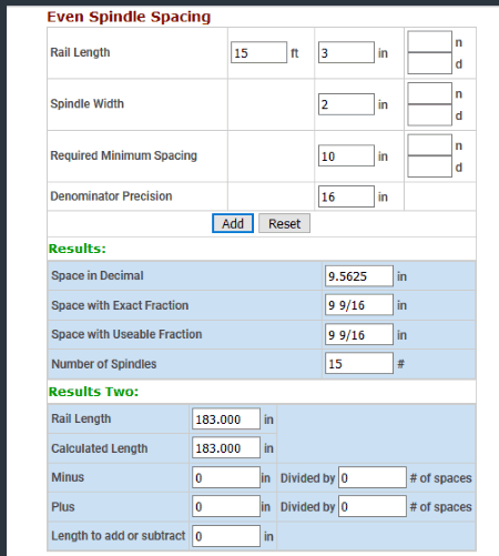 spindle spacing calculator