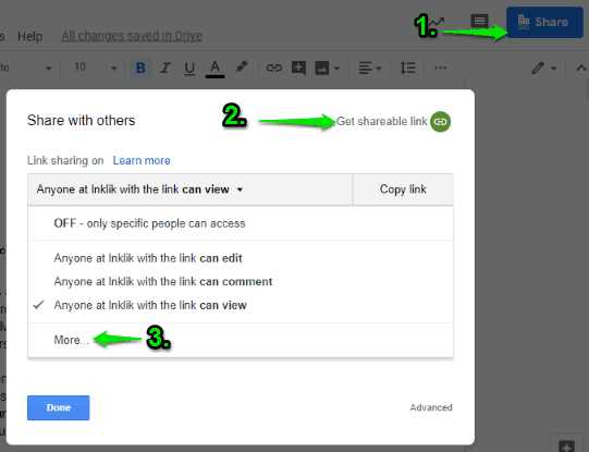 use more option in get shareable link option