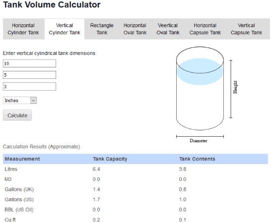 Alloiltank website with verticle cylinder tank calculator