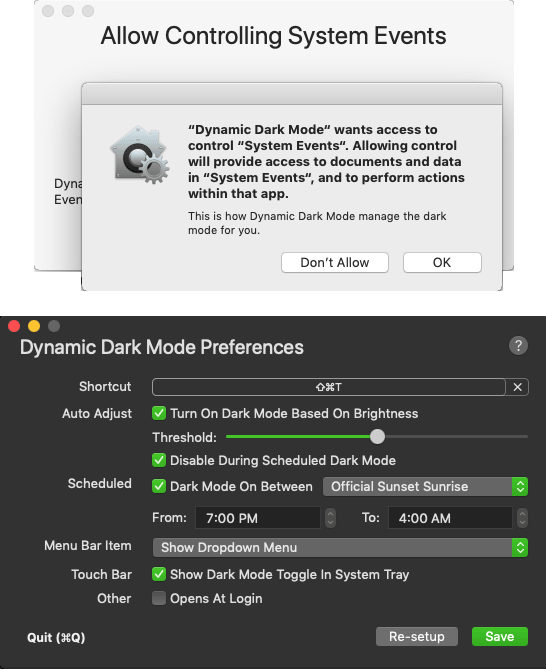 Allow Dynamic Dark Mode to access System
