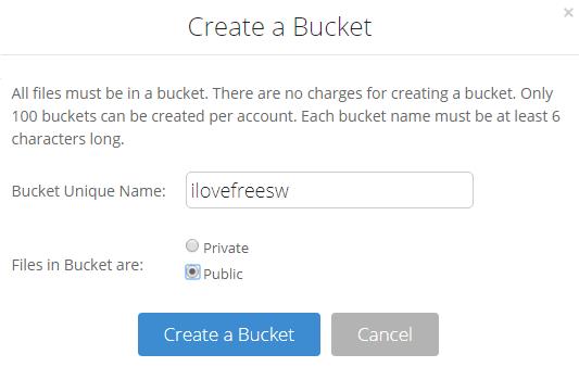 B2 create a bucket