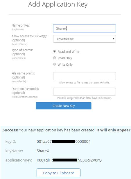 B2 generated the API keys