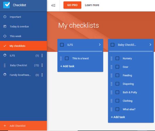 Checklist- interface