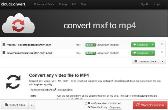 CloudConvert MXF to MP4