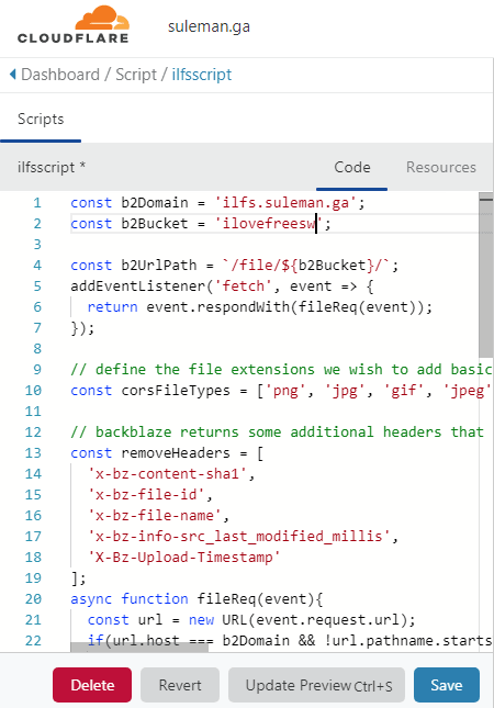 CloudFlare Worker Script
